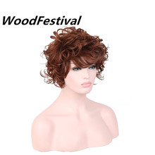 цена на Real picture african american wigs women reddish brown wig hair heat resistant synthetic wigs short curly wig WOODFESTIVAL
