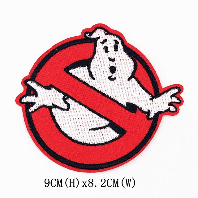 1pcs ghostbuster movie iron on patch sewing on embroidered applique patch for clothes stickers diy apparel