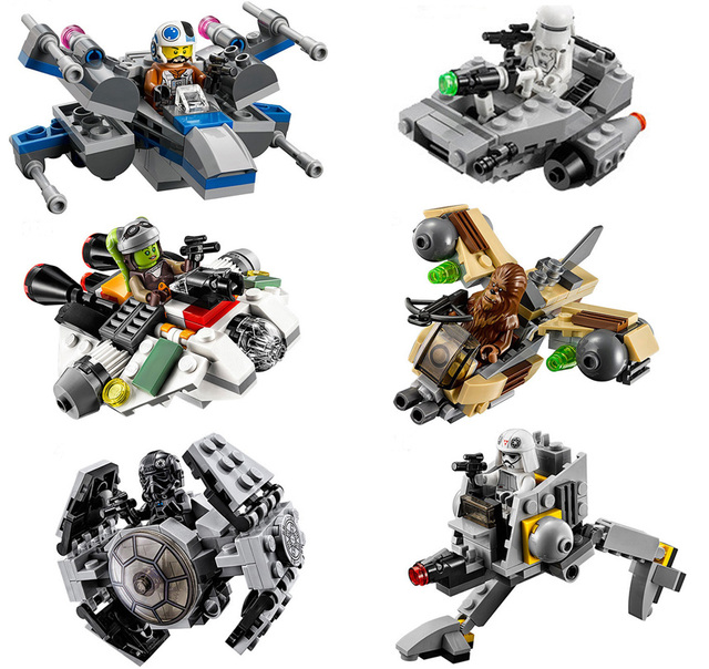 Lepin Star Wars 6pcs Space Ships Clone Wars Micro Fighter Building