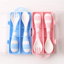 Baby cartoon fork spoon eating supplies baby fork spoon set children eating training fork spoon with storage box cutlery set(China)