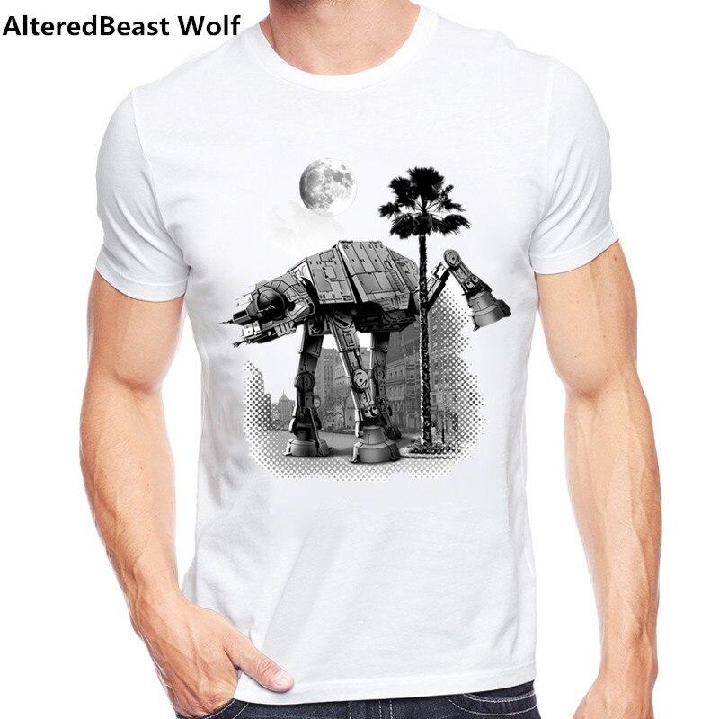 2017 Men   t     shirt   fashion Cool Star Wars Empire Sketch robot White hip pop funny Short sleeve   t  -  shirt   summer tee   shirt   homme