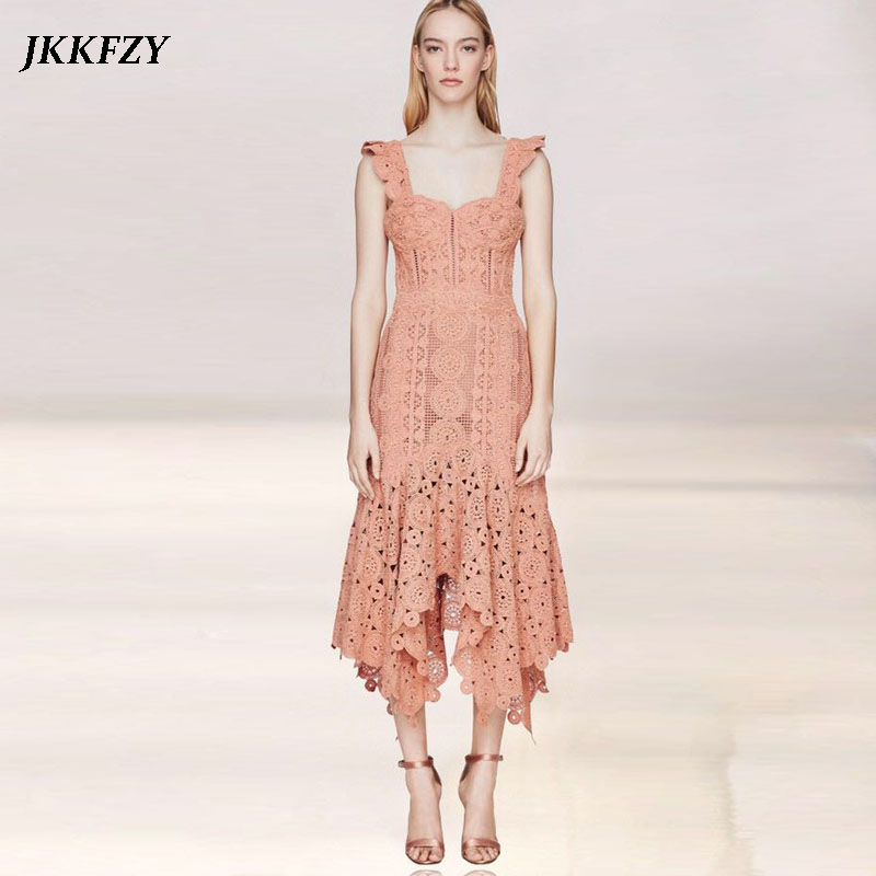 2019 Summer Women Sexy Lace Sling Dress Solid Color Strapless Bohemian Dress Fashion Design Party Runway Midi Dress Vestidos