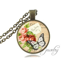 Vintage Butterfly Jewelry Pink Flower Pendant Sweater Chain Long Necklace For Women Black White Butterfly Necklace