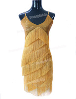 PrettyGuide Women V Neck Deco Gatsby 1920s Sequins Fringe Sway Flapper Dress Dance Party Dress Ballroom