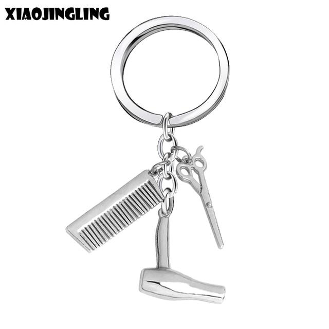 XIAOJINGLING New Fashion Key Chain Scissors Comb Hair Dryer Pendants Keychain Je