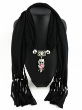 Elegant Women Ladies Girls Necklace Scarves Owl Pendant Jewelry Tassels Scarf Shawl