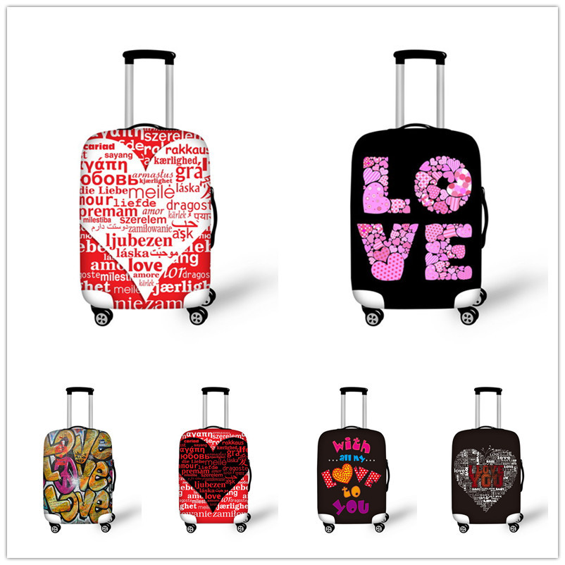 Hot New Stylish Elastic Word Love Luggage Protective Covers For 18-30 Inch Suitcase Thick Dust Rain Cover Travel Bag Case Cover