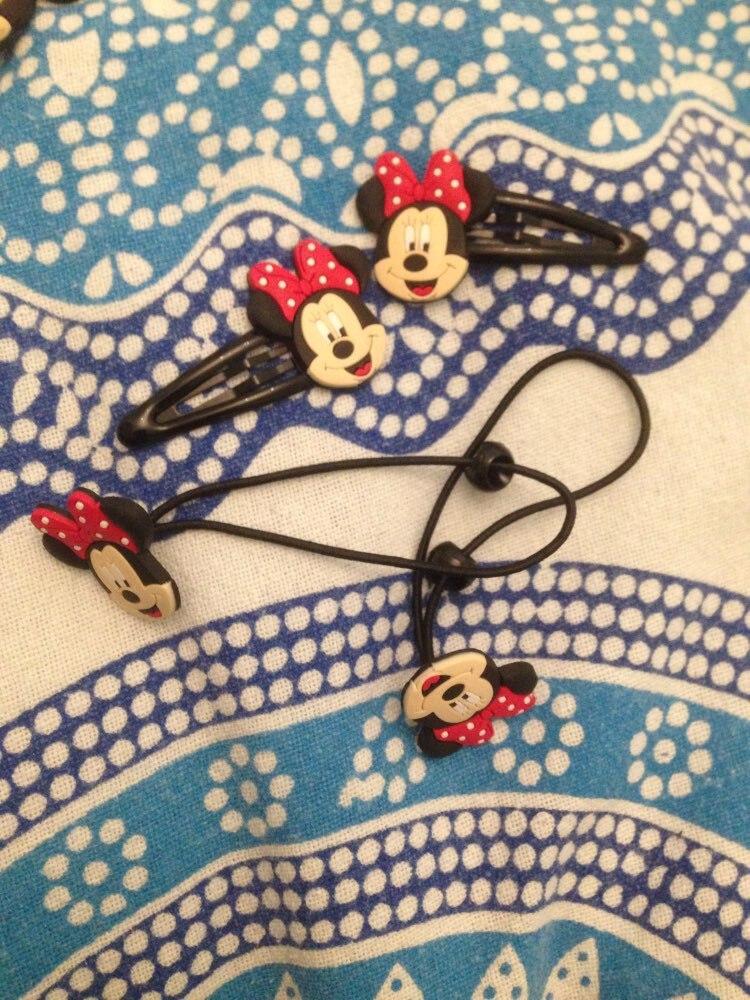 1pair 2pcs Mickey Cute Cartoon PVC Elastic Hairbands Hair Accessories for Girls Rubber Hair Band Headwear