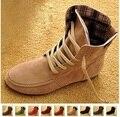Venda quente Das Mulheres Ankle Boots de Camurça Primavera Outono Botas de Motociclista Calcanhar Plana Plus Size Sapatos 34-43 Mulheres Botas