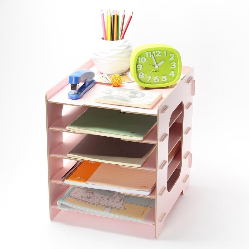 5 layer diy wood office desk organizer file rc magazine stationery storage box makeup organizer. Black Bedroom Furniture Sets. Home Design Ideas