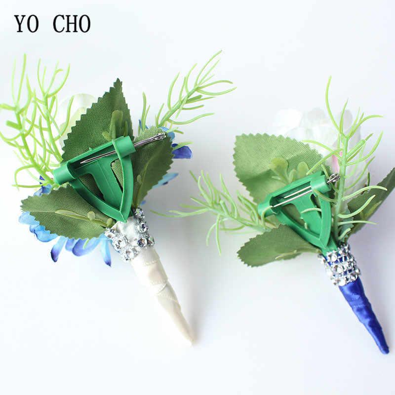 ヨーヨー町 Boutonnieres ウェディング手首のコサージュのブレスレットブライダルホワイトブルー新郎ブートニエールコサージュの花結婚スーツアクセサリー