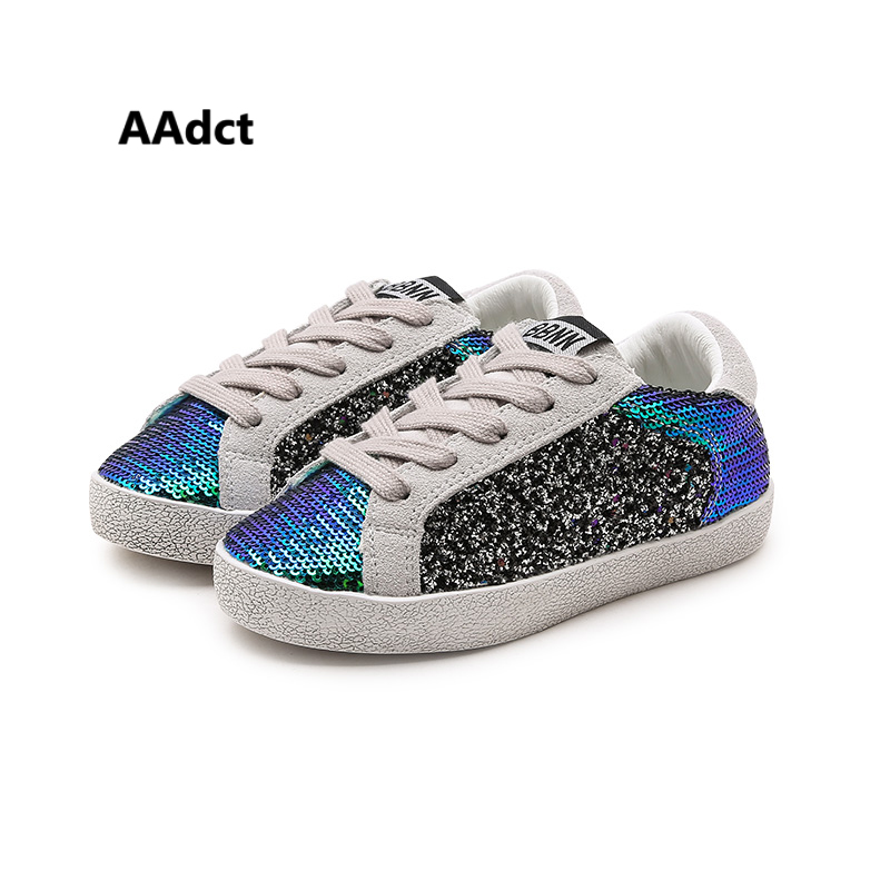 AAdct autumn girls shoes little kids for Elastic band Sequins fashion sneakers sports new casual children