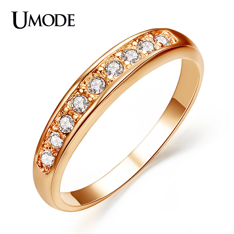 UMODE Rose Gold / Rhodium color Top Quality Rhinestones Wedding Band Rings For Women Fashion Jewelry Wholesale AJR0001