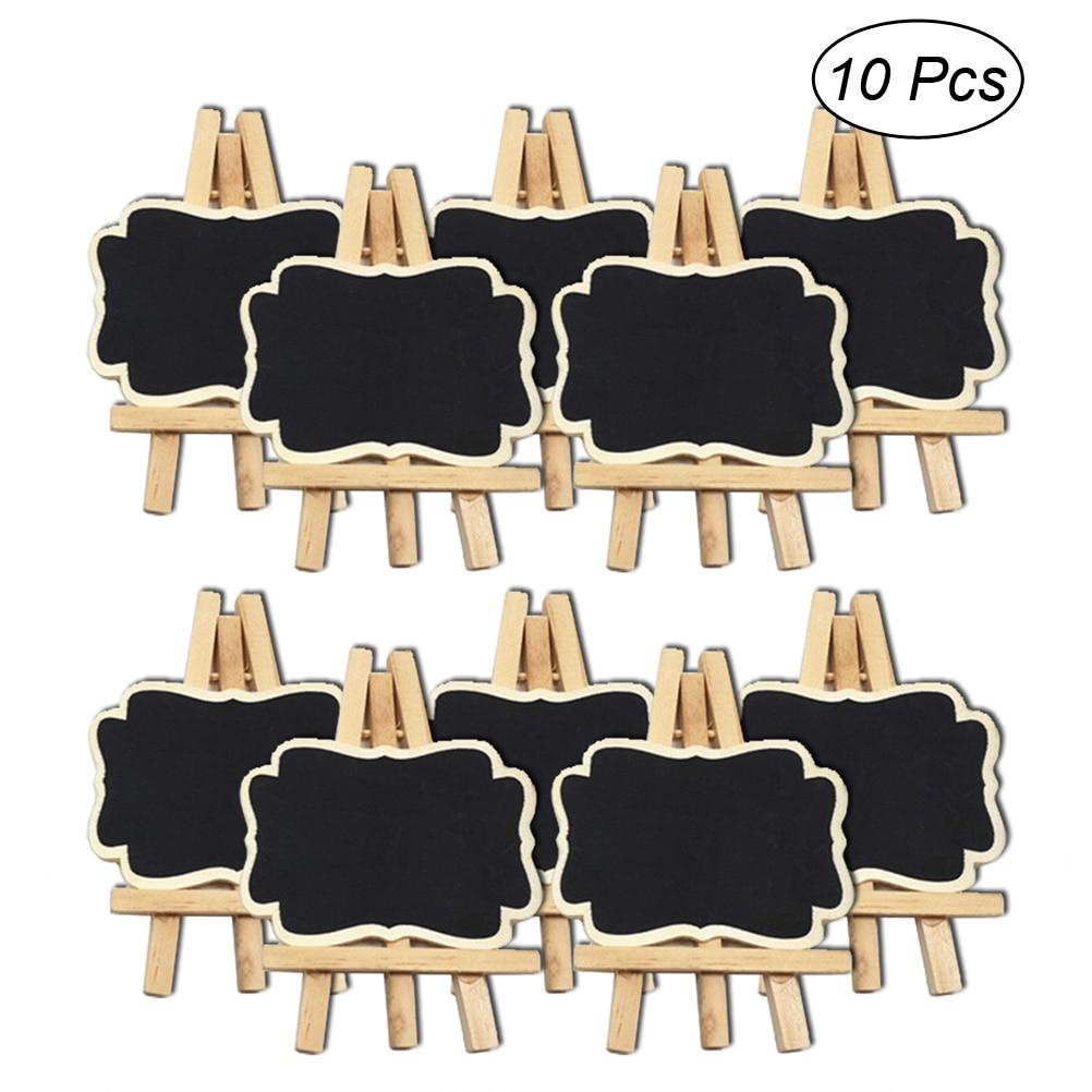 10PCS Mini Blackboard Chalkboard Wooden Stand Message Board Holder Wedding Party
