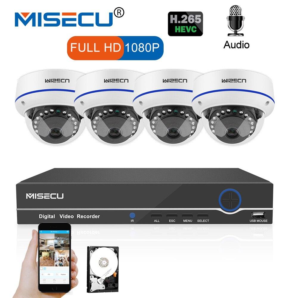 MISECU 8CH 1080 P POE NVR комплект безопасности Камера CCTV Системы 4 шт. Крытый аудио записывать звук IPDome Камера P2P видеонаблюдения комплект