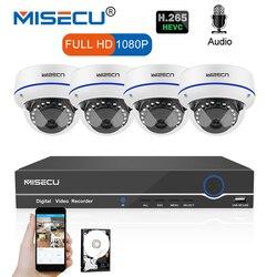 MISECU 8CH 1080P POE NVR Kit Security Camera CCTV System 4PCS Indoor Audio Record Sound IPDome Camera P2P Video Surveillance Set