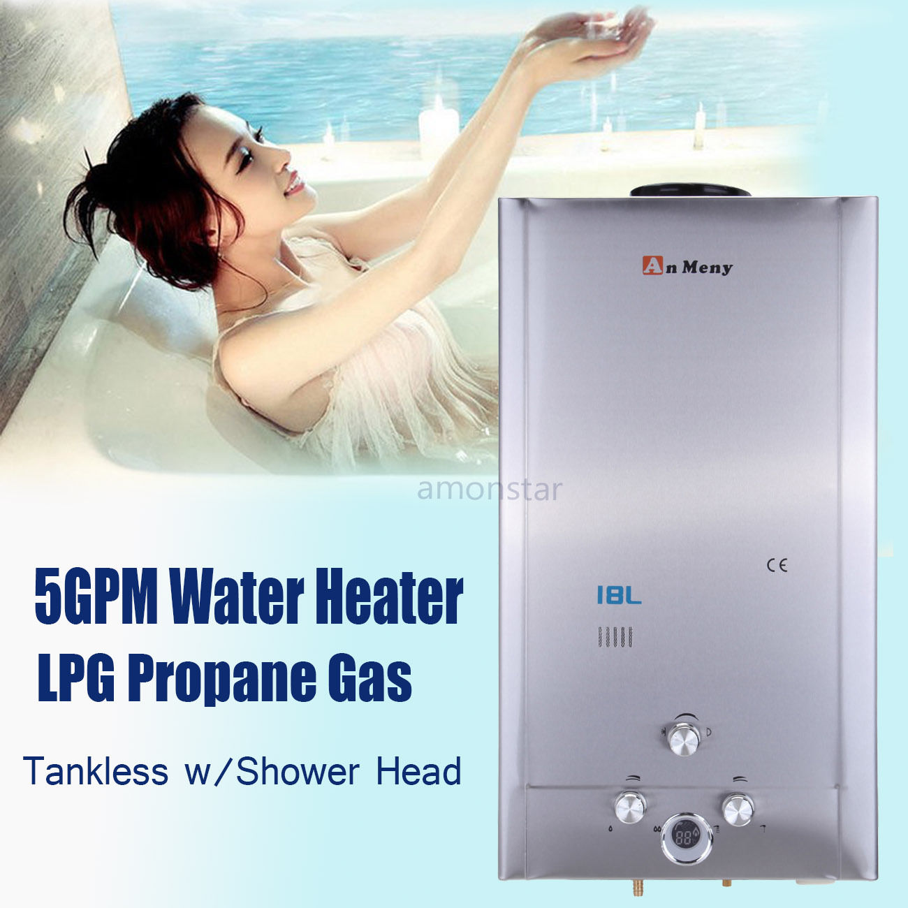 FAST SHIPPING 18L Tankless LPG Propane Gas Hot Water Heater 5GPM Digital Display W/Shower Head