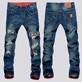 YONO Nuevos Hombres de la Moda Denim Jeans Pantalones Slim Fit Punk Parche Apenada Agujero Medio-Largo Breves Pantalones Masculinos de La Vendimia más Tamaño