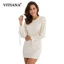 Vitiana Для женщин Повседневное короткие трикотажные Платья-свитеры женские осенние пикантные Bodycon Тонкий Элегантный Эластичный Карандаш Платья для вечеринок Vestidos