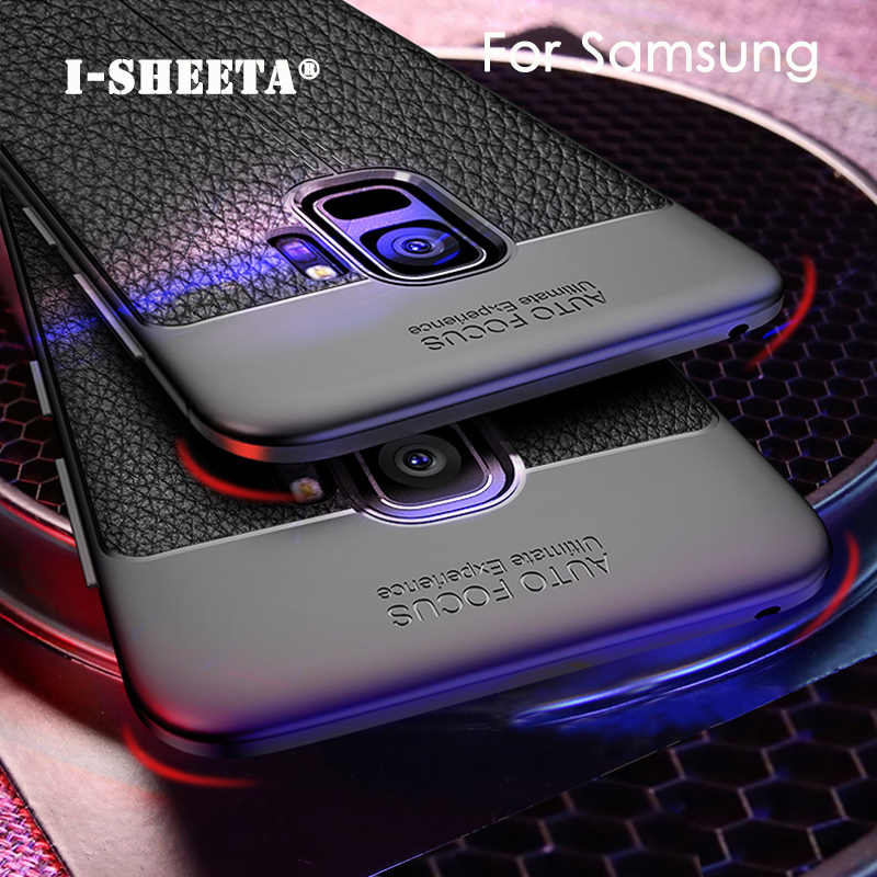 Ultra Thin Soft TPU Leather Litchi Pattern Cases For Samsung Galaxy Note 8 S8 S9 Plus A8 Plus 2018 S7 Edge Full Gel Rubber Cover