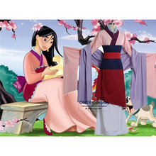 Moda Anime Fantasia Princesa Mulan Halloween Mulheres Traje Cosplay Mulheres/Criança Kimono Fantasia para a Festa de 2 Cores