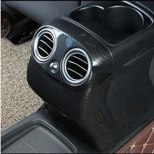 Carbon Fiber Style For Mercedes Benz E Class W213 2016 2017 ABS Plastic Rear Row Armrest Box AC Vent Cover Trim Car Accessories