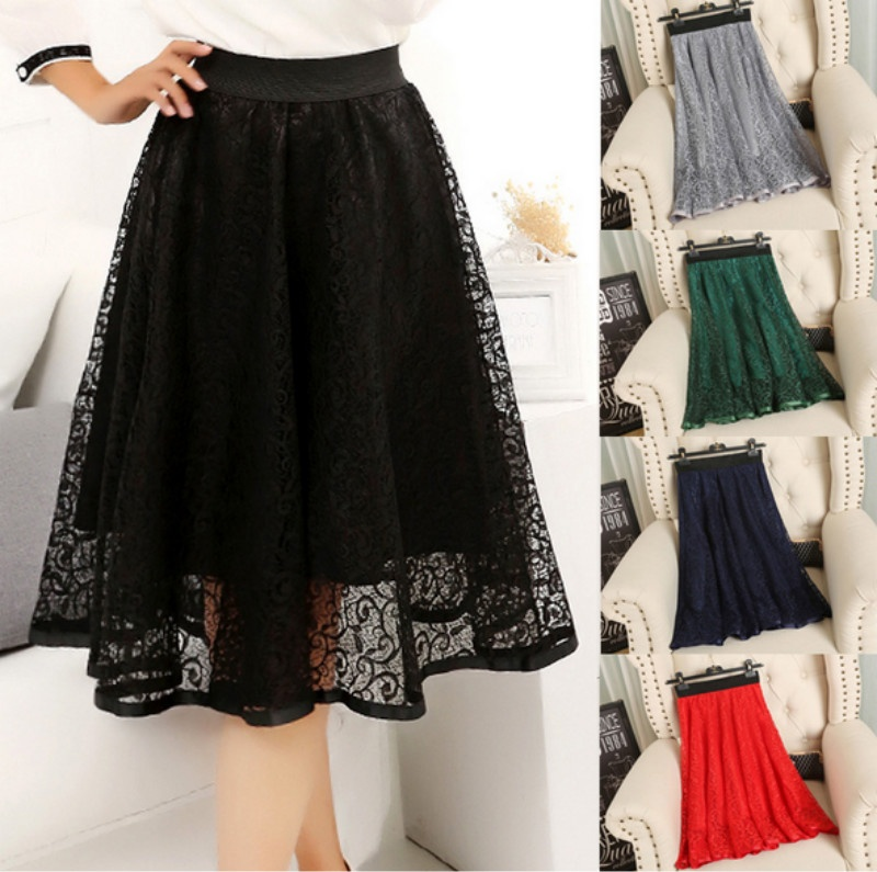 2017 Women Fashion Spring Summer Print Mesh A Puff Net yarn Lace Double layer Hollow Out Party Sexy Hollow Skirt