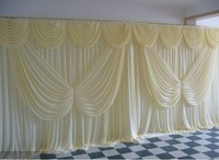 10ft*20ft ice silk White Color with butterfly swag Wedding Drape curtain Backdrop