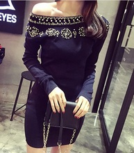 KND121 Rhinestone long bag hip sweater dresses/bead knitting dresses/Package hip knit dress/beades slim knitted dress sweater
