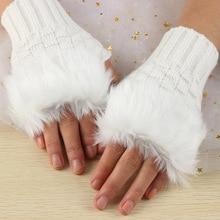 1 Pair Wool Blend Faux Rabbit Fur Women Fingerless Gloves Kn