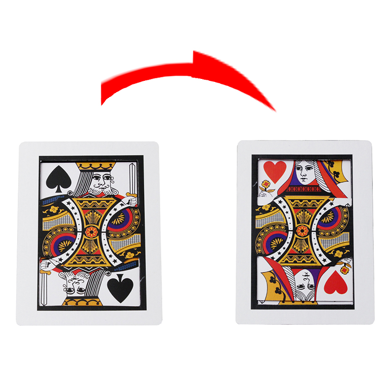 Mini Small Automatic Three Card Monte (Q, K) (6.3*8.7cm) - Magic Trick Card Magic Props Accessories Close Up Magic