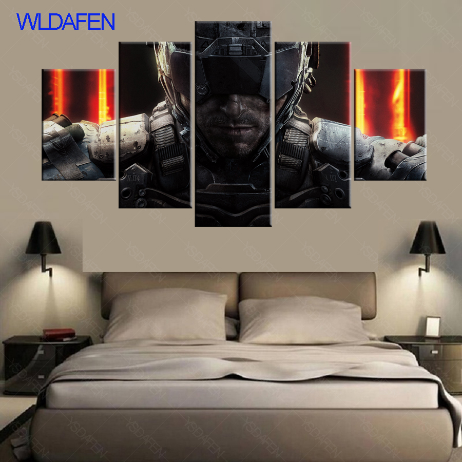 5 Piece Canvas Art Hd Print Call Duty Black Ops 3 Game Poster Decor