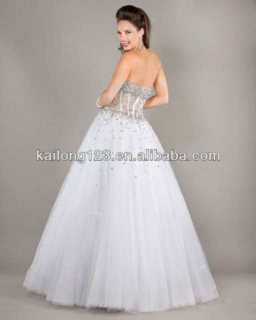 c24f2f8b4d9 Online Shop Delicate Strapless Ball Gown Floor-length White Silver Beaded Sequins  Corset Style Bodice Tulle Princess Style Dresses | Aliexpress Mobile