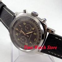 Parnis 44mm Coffee California dial Full chronograph luminous hands and marks quartz movement Men's watch 578