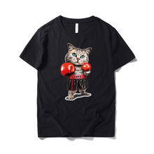 цена на 2019 Summer Men's Short Sleeve Cotton Cartoon Boxing Cat Print T-Shirt Trendy Loose Short Sleeve