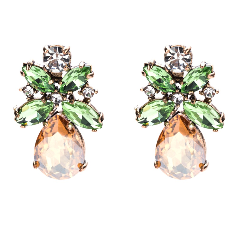 Flower Rhinestones Stud Earrings for women Statement Earrings 2018 Cute Earings girls fashion Jewelry Brinco wholesale