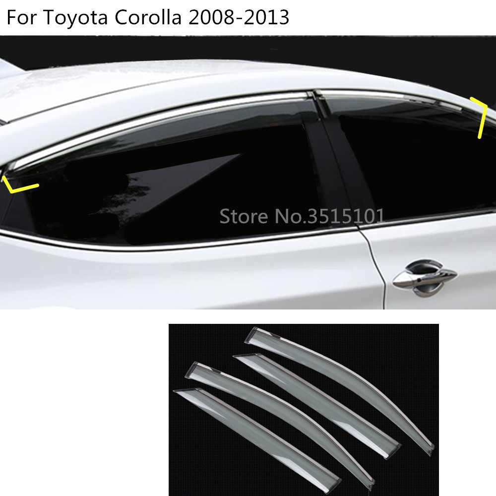 car body styling cover Window glass Wind Visor Rain/Sun Guard Vent 4pcs For Toyota Corolla Altis 2008 2009 2010 2011 2012 2013