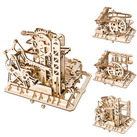 5 Kinds Marble Run Game DIY Waterwheel Coaster Wooden Model Building Kits Toys for Boys Adults Assembly Children Toys Xmas Gifts