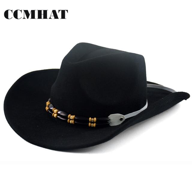 CCMHAT Black 100% Wool Cowboy Hats For Men Sombreros Vaquero Western  American Mens Winter Western Felt Hats For Adults Cowboy f5e105531b3