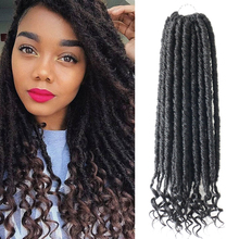 18inch Goddess Faux Locs Crochet Hair Crochet Braids Faux Locks With Curly Ends Ombre Synthetic Braiding Hair Extension 12inch goddess faux locs curly ends short wavy crochet braids 12strand pack afro synthetic ombre crochet braiding hair extension