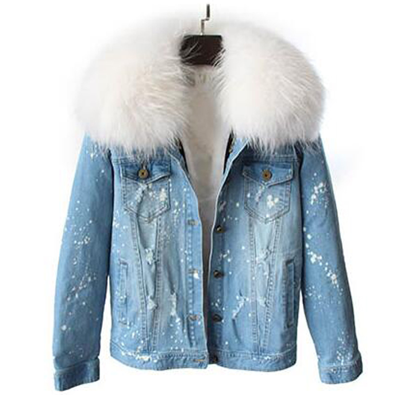 brand 2017 Casual new fur coat winter jacket women Holes jeans denim jacket parka real raccoon fur collars fox fur liner warm 2017 winter new clothes to overcome the coat of women in the long reed rabbit hair fur fur coat fox raccoon fur collar