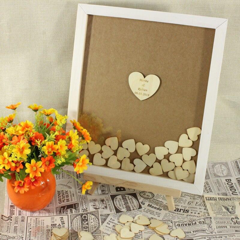 Nom personnalisé, cadre blanc Kraft fond livre d'invité de mariage coeur signes en bois Drop Top Box pour livre d'invité de mariage rustique