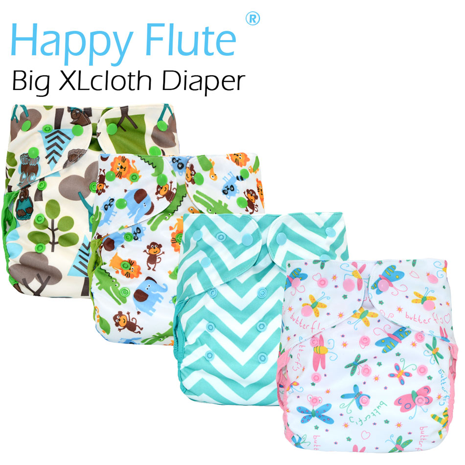Happy Flute Big XL cloth diaper cover for Baby 2 Years and Older, stay-dry inner,adjustable size, fits waist 36-58 cm
