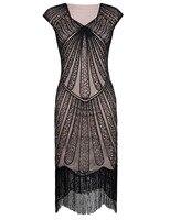 PrettyGuide Women 1920s Sequin Paisley Sexy V Neck Tassels Hem Flapper Cocktail Dress Vintage Party Dress