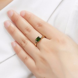 Hutang Genuine 9K Yellow Gold Women's Ring Emerald Cut 1.0 Carat Real Green Chrome Diopside Rings for Wedding Fine Jewelry Gift