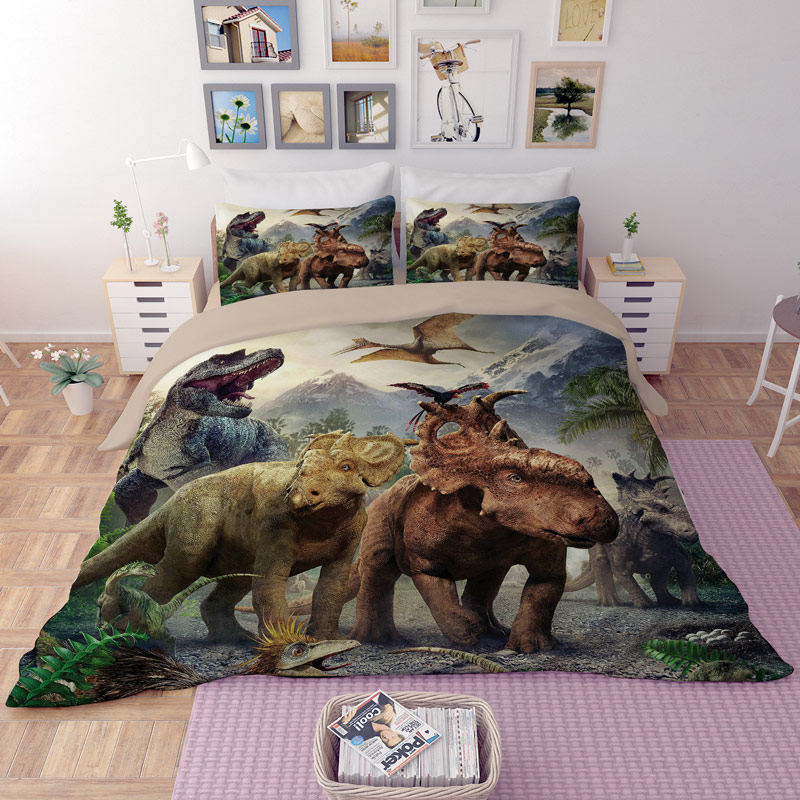 3D bedding sets Queen California king Dream dinosaur pattern Twin Full kids room bedsheet Fitted sheet