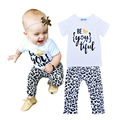 Retail 2016 Brand Girls Clothing Set Summer Style Letter Pattern T-shirt+Leopard Pants 2pcs Sets Baby Girl Clothes Set fantasia