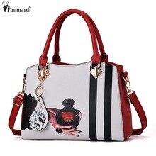 FUNMARDI Trendy Cartoon Druck Frauen Handtaschen Vintage Leder Frauen Totes Berühmten Marke Taschen Stern Stil Umhängetaschen WLAM0082