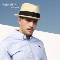 Faramita Holiday Papyrus Cowboy Fedora Hat Gangster Cap Sun Straw Panama Jazz Hat Gentleman Straw Wide Brim Hat Cap Unisex Men