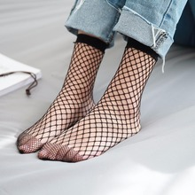 Fashion Women essential Mesh Fishnet Socks Sexy Black Hollow Out Breathable Female Stretchable Short Hosiery Ankle Socks Aug14